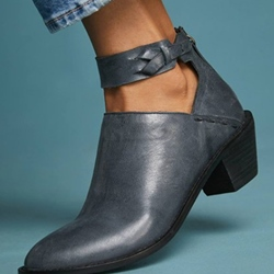 Shoespie Retro Zipper Ankle Strap Flat Ankle Boots