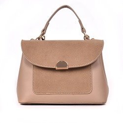 Shoespie Plain PU Patchwork Flap Tote Bags