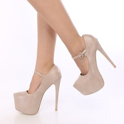 Shoespie Pink Platform Ankle Strap Buckle Stiletto Heels