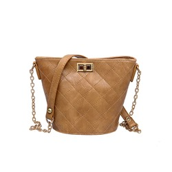 Shoespie PU Lock Plain Barrel-Shaped Crossbody Bags