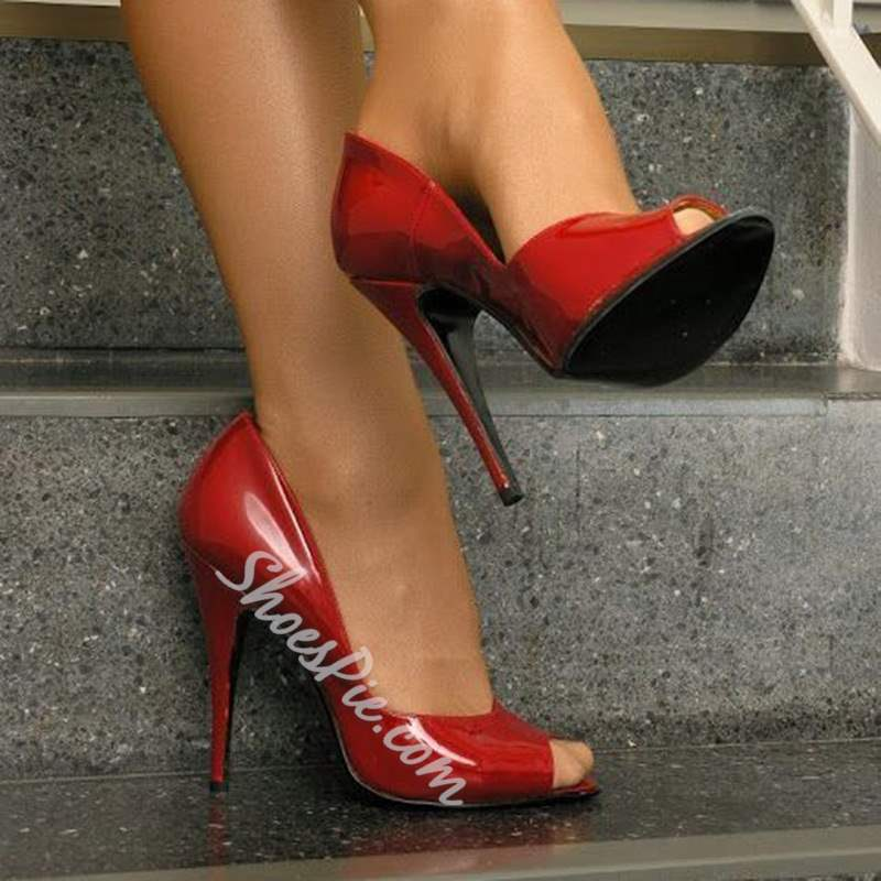 Shoespie Sexy Red Peep Toe Stiletto Heels