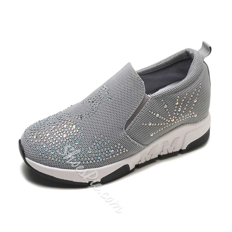 Shoespie Casual Mesh Slip-On Hidden Elevator Heel Sneakers