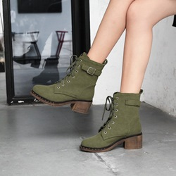 Shoespie Casual Buckle Lace-Up Front Martin Boots