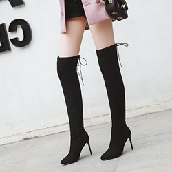Black Lace-Up Suede Stiletto Heel Thigh High Boots