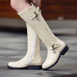 Shoespie PU Buckle Side Zipper Flat Knee High Boots