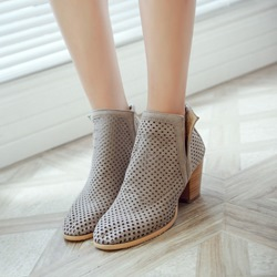 Shoespie Casual Hollow Chunky Heel Back Zip Ankle Boots