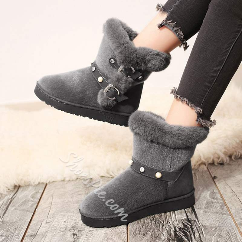Shoespie Fluffy Beads Round Toe Slip-On Snow Boots