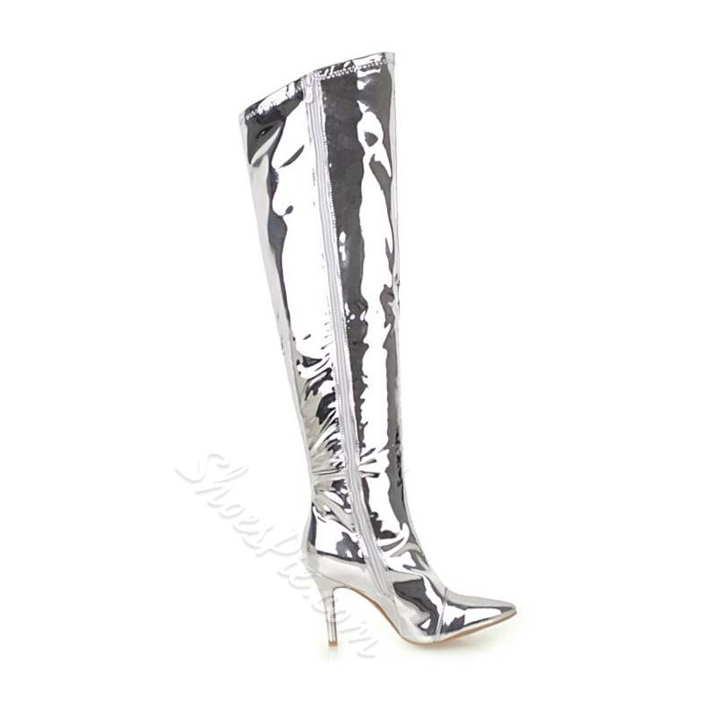 Shoespie Sexy Silver Stiletto Heel Thigh High Boots