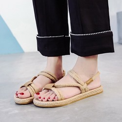 Strappy Slip-On Open Toe Flat Sandals