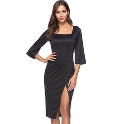 Shoespie Square Neck Elegant Plain Women's Bodycon Dress