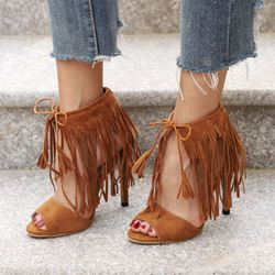 Fringe Peep Toe Suede Stiletto High Heels
