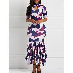 Ankle-Length Patchwork Mermaid Western Women's Maxi Dress