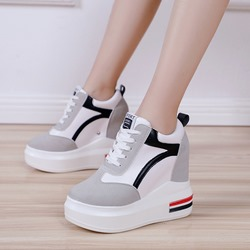 Shoepie Platform Lace-Up Hidden Elevator Heel Sneakers