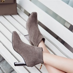 Shoespie Suede Back Zip High Heel Ankle Boots