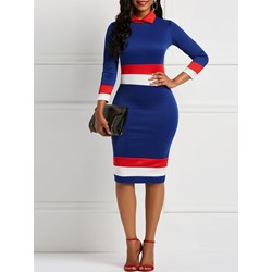Long Sleeve Pullover Stripe Women's Bodycon Dress