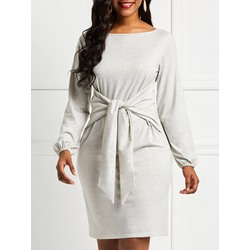 Oblique Collar Polyester Lace-Up Women's Bodycon Dress