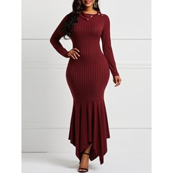 Long Sleeve Falbala Elegant Women's Maxi Dress