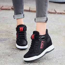 Shoespie Black Lace-Up Hidden Elevator Heel Sneakers