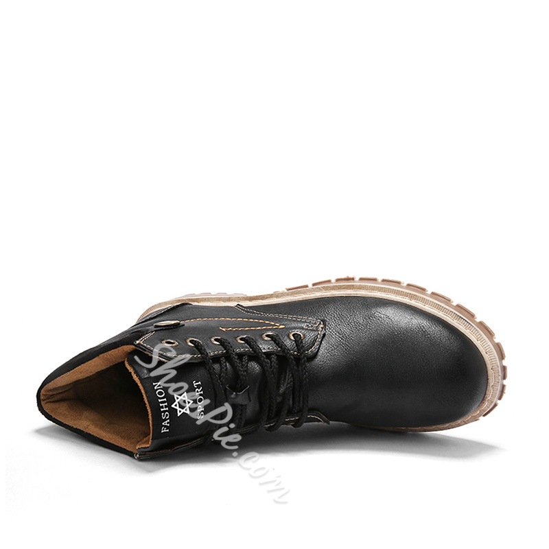 Shoespie Casual Round Toe Lace-Up Men's Martin Boots