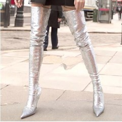 Shoespie Trendy Slip-On Stiletto Heel Thigh High Boots
