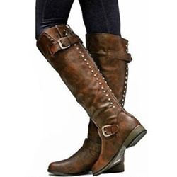Shoespie Retro Buckle Back Zip Knee High Boots