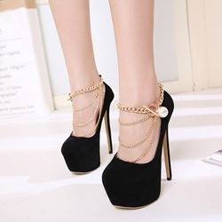 Shoespie Black Chain Buckle Platform Stiletto Heels