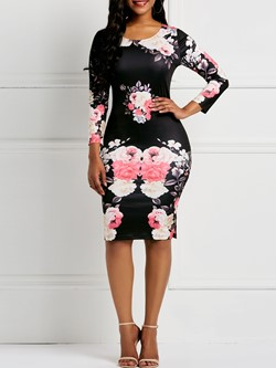 Knee-Length Round Neck Long Sleeve Print Floral Dresses Women's