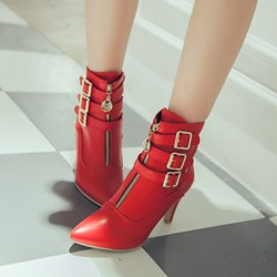 Shoespie Casual Buckle Zipper Stiletto Heel Ankle Boots