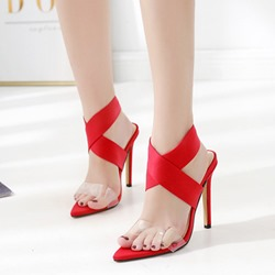 be5d30049df Shoespie Strappy Stiletto Heel Open Toe Slip-On Sandals. Black Red Light  Apricot