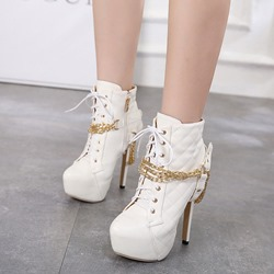 Shoespie Cross Strap Chain Platform Stiletto Heel Ankle Boots