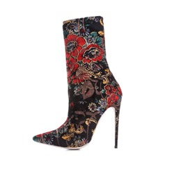 Shoespie Suede Slip-On Floral Stiletto Heel Ankle Boots