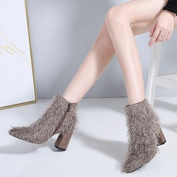 Shoespie Casual Side Zipper High Heel Ankle Boots