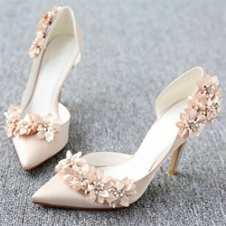 Shoespie Champagne Flower Stiletto Heel Wedding Shoes