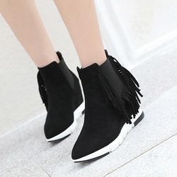 Shoespie Stylish Black Wedge Heel Pointed Toe Sneakers