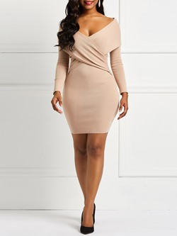 Long Sleeve Backless V Neck Women's Bodycon Dress
