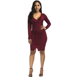 Long Sleeve Plain V Neck Women's Bodycon Dress
