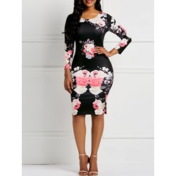Knee-Length Round Neck Long Sleeve Print Floral Women's Bodycon Dress