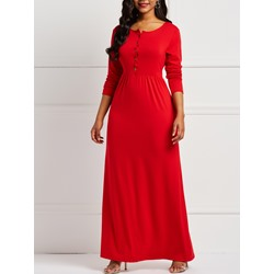 Floor-Length Plain Fall Women's Maxi Dress