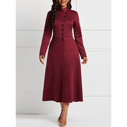 Stand Collar Fall Plain Women's A-Line Dress