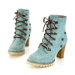 Shoespie Casual Rivet Lace-Up High Heel Ankle Boots