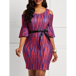 Half Sleeve Stripe Pullover Women's Bodycon Dress