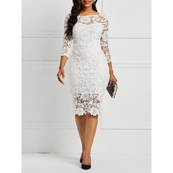 Hollow Sexy Patchwork Bodycon Women's Lace Dress