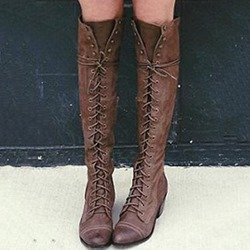 Shoespie Retro Cross Strap Side Zipper Knee High Boots