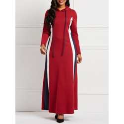 Hooded Cotton Color Block Women's Maxi Dress