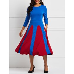 Color Block Polyester Elegant Women's A-Line Dress