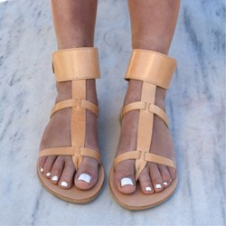 Shoespie Casual PU Buckle Thong Strappy Flat Sandals