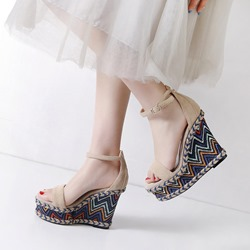 Shoespie Bohemian Platform Ankle Strap Wedge Sandals