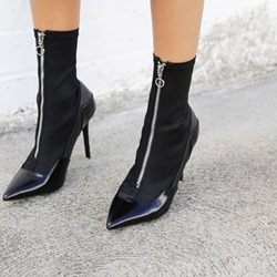 Shoespie Black Front Zipper Stiletto Heel Ankle Boots