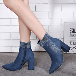 Shoespie Casual Denimr High Heel Ankle Boots