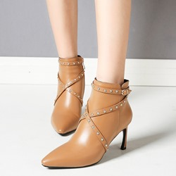 Shoespie Casual Rivet Buckle Stiletto Heel Ankle Boots
